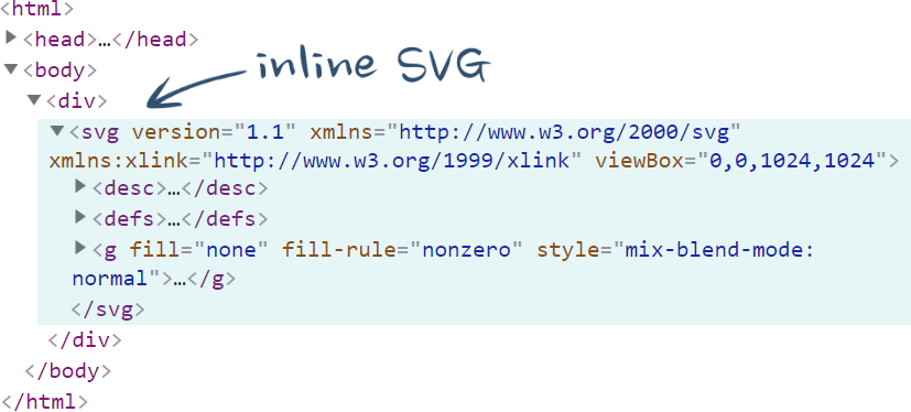 Inline SVG in browser inspector